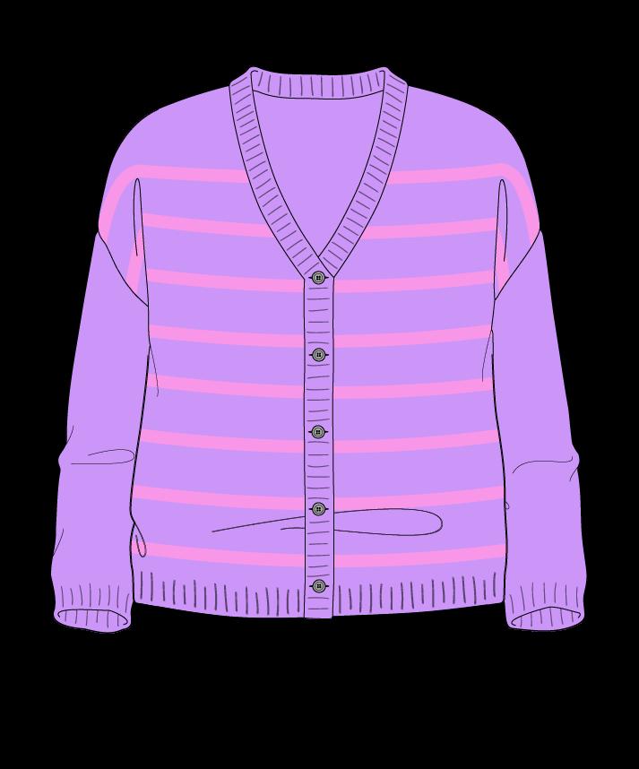Relaxed fit Cropped body V-neck Three quarter sleeve Narrow stripes Narrow stripes Plain dropshoulder-cardigan dk 46