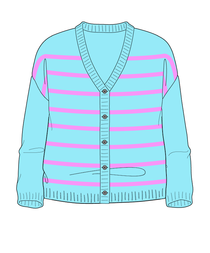 Relaxed fit Cropped body V-neck Three quarter sleeve Narrow stripes Narrow stripes Plain dropshoulder-cardigan fingering 34