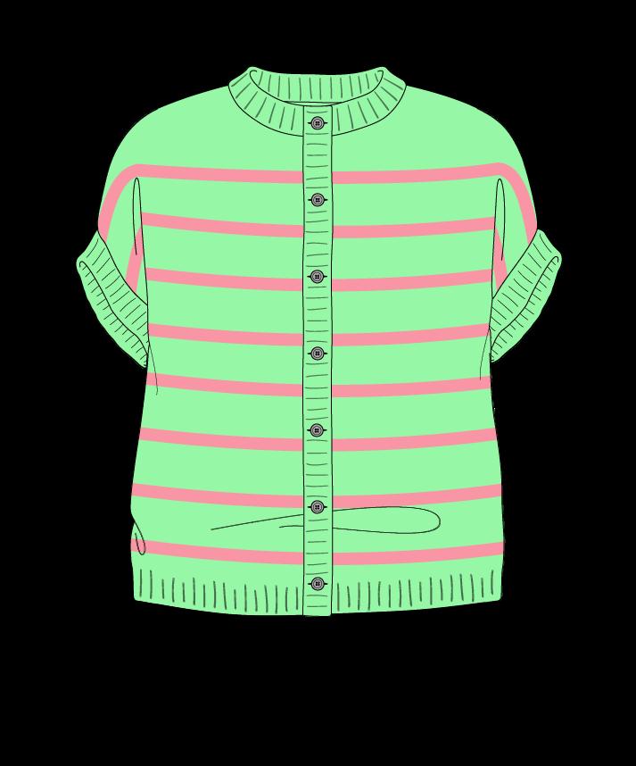 Relaxed fit Cropped body Crew neck Sleeveless Narrow stripes Narrow stripes Plain dropshoulder-cardigan dk 30