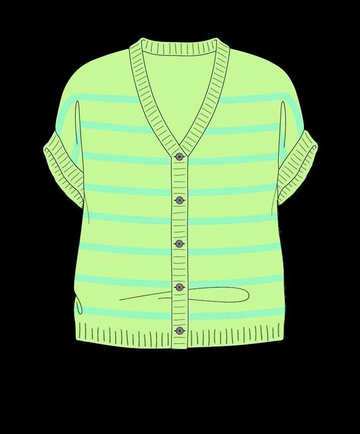 Relaxed fit Cropped body V-neck Sleeveless Narrow stripes Narrow stripes Plain dropshoulder-cardigan dk 38
