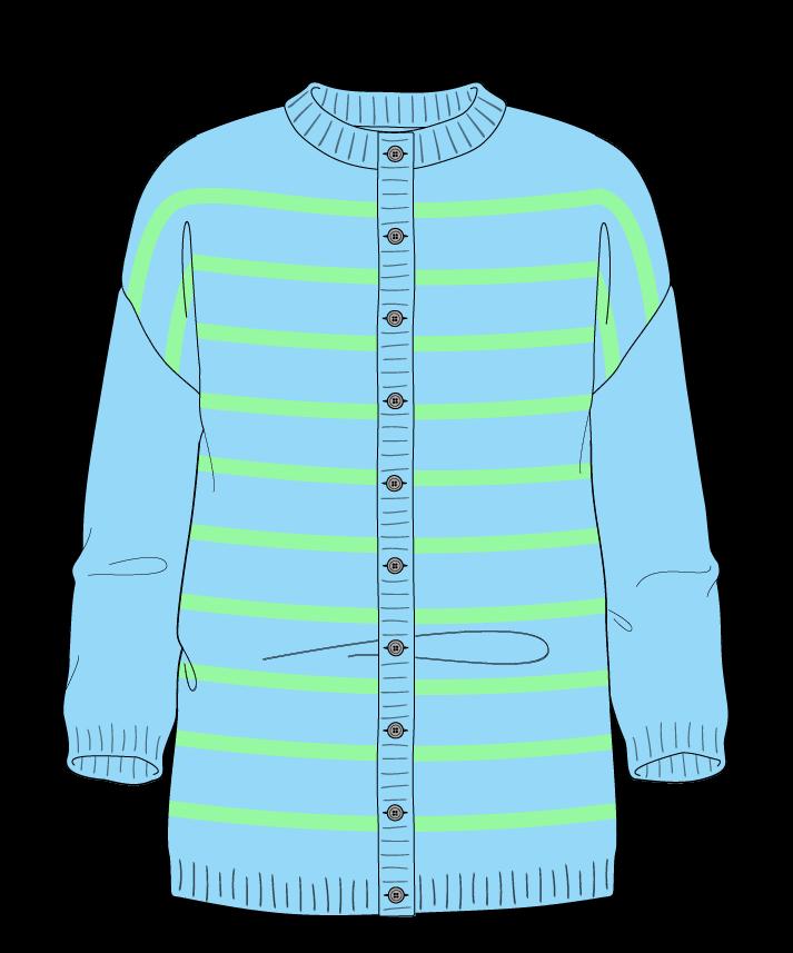 Regular fit Full length body Crew neck Three quarter sleeve Narrow stripes Narrow stripes Plain dropshoulder-cardigan dk 42