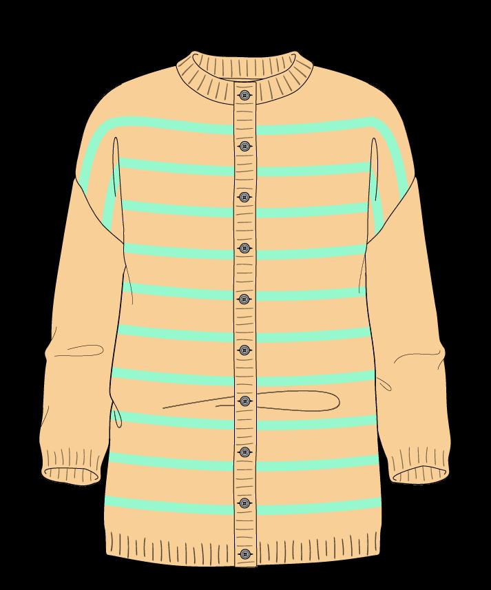Regular fit Full length body Crew neck Three quarter sleeve Narrow stripes Narrow stripes Plain dropshoulder-cardigan fingering 30
