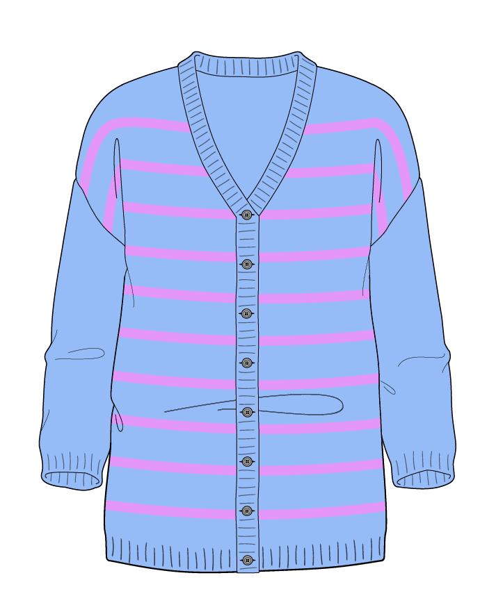 Regular fit Full length body V-neck Three quarter sleeve Narrow stripes Narrow stripes Plain dropshoulder-cardigan dk 30