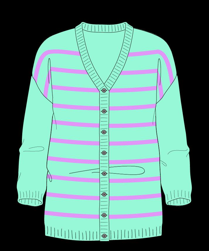 Regular fit Full length body V-neck Three quarter sleeve Narrow stripes Narrow stripes Plain dropshoulder-cardigan fingering 54