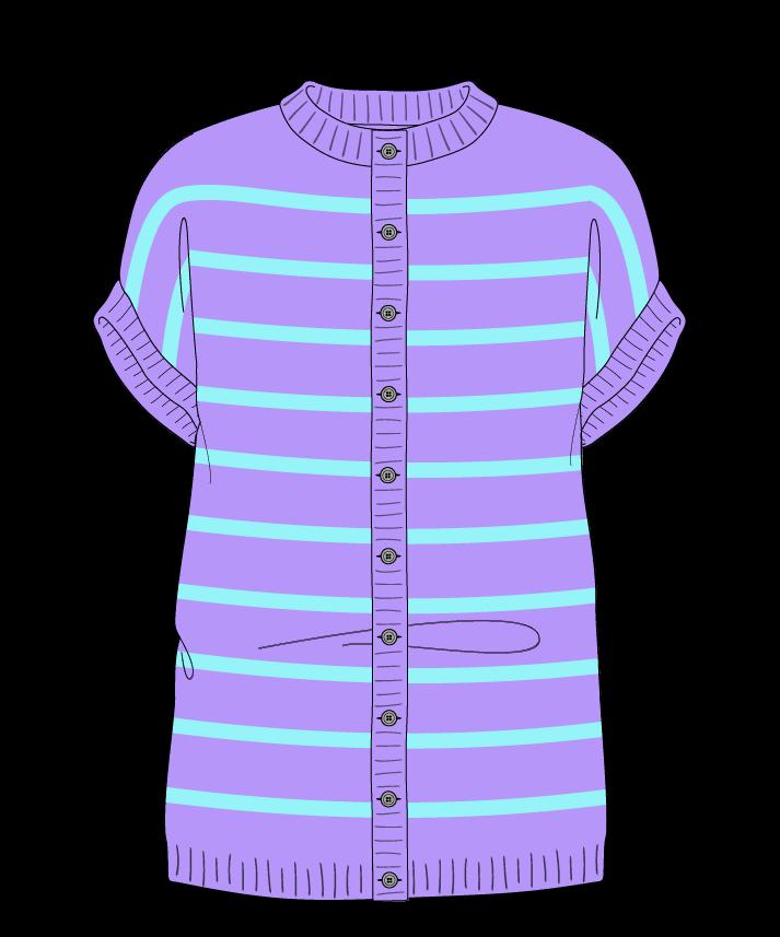 Regular fit Full length body Crew neck Sleeveless Narrow stripes Narrow stripes Plain dropshoulder-cardigan dk 50