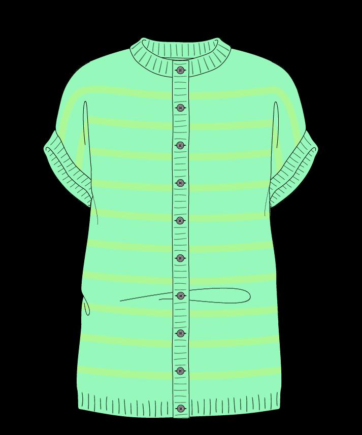 Regular fit Full length body Crew neck Sleeveless Narrow stripes Narrow stripes Plain dropshoulder-cardigan fingering 38