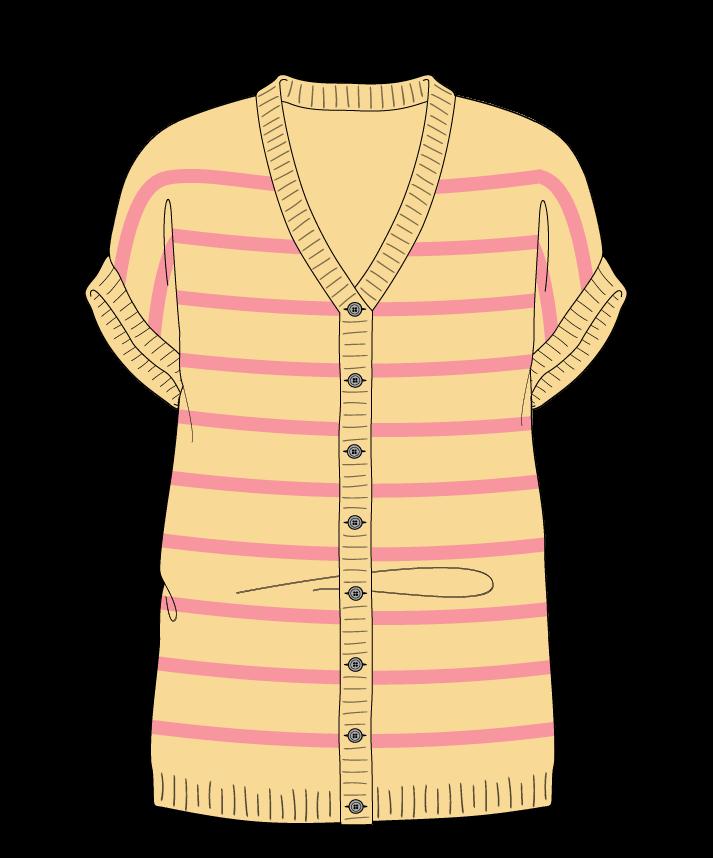 Regular fit Full length body V-neck Sleeveless Narrow stripes Narrow stripes Plain dropshoulder-cardigan fingering 46
