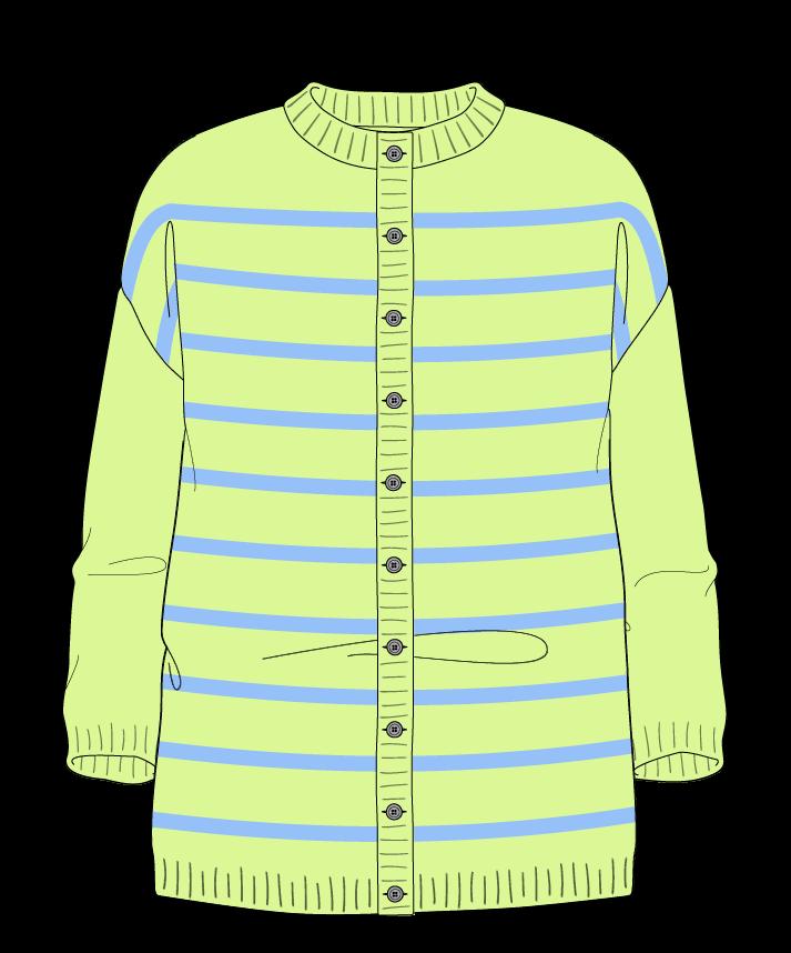 Relaxed fit Full length body Crew neck Three quarter sleeve Narrow stripes Narrow stripes Plain dropshoulder-cardigan fingering 50