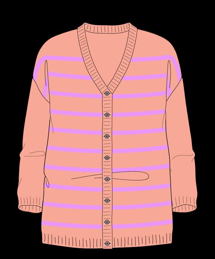 Relaxed fit Full length body V-neck Three quarter sleeve Narrow stripes Narrow stripes Plain dropshoulder-cardigan dk 54