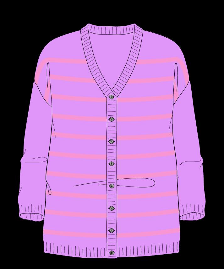 Relaxed fit Full length body V-neck Three quarter sleeve Narrow stripes Narrow stripes Plain dropshoulder-cardigan fingering 38