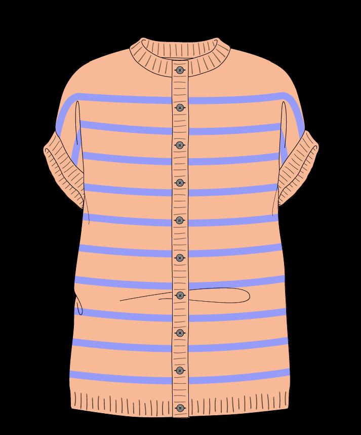 Relaxed fit Full length body Crew neck Sleeveless Narrow stripes Narrow stripes Plain dropshoulder-cardigan fingering 54