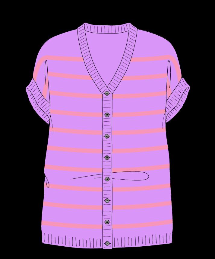Relaxed fit Full length body V-neck Sleeveless Narrow stripes Narrow stripes Plain dropshoulder-cardigan fingering 46