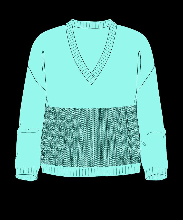 Regular fit Cropped body V-neck Three quarter sleeve Purse stitch Plain Plain dropshoulder dk 30