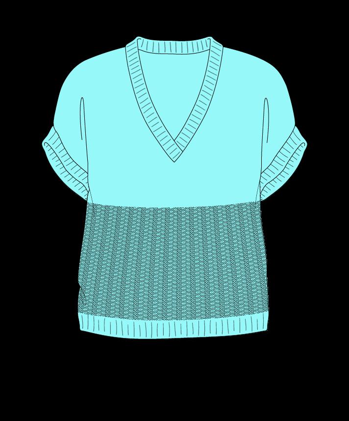 Regular fit Cropped body V-neck Sleeveless Purse stitch Plain Plain dropshoulder dk 54
