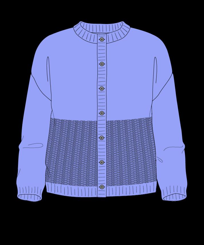 Regular fit Cropped body Crew neck Three quarter sleeve Purse stitch Plain Plain dropshoulder-cardigan fingering 46