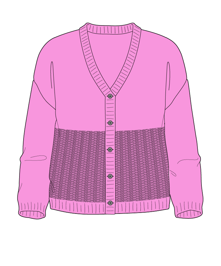 Regular fit Cropped body V-neck Three quarter sleeve Purse stitch Plain Plain dropshoulder-cardigan fingering 38