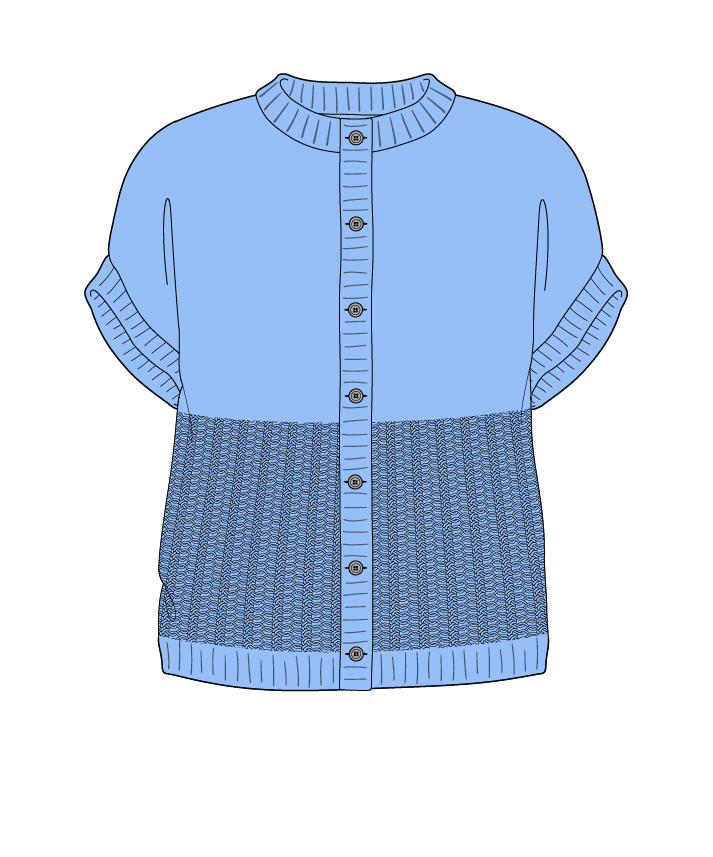Regular fit Cropped body Crew neck Sleeveless Purse stitch Plain Plain dropshoulder-cardigan dk 46
