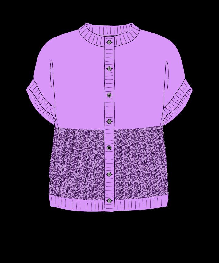 Regular fit Cropped body Crew neck Sleeveless Purse stitch Plain Plain dropshoulder-cardigan fingering 34