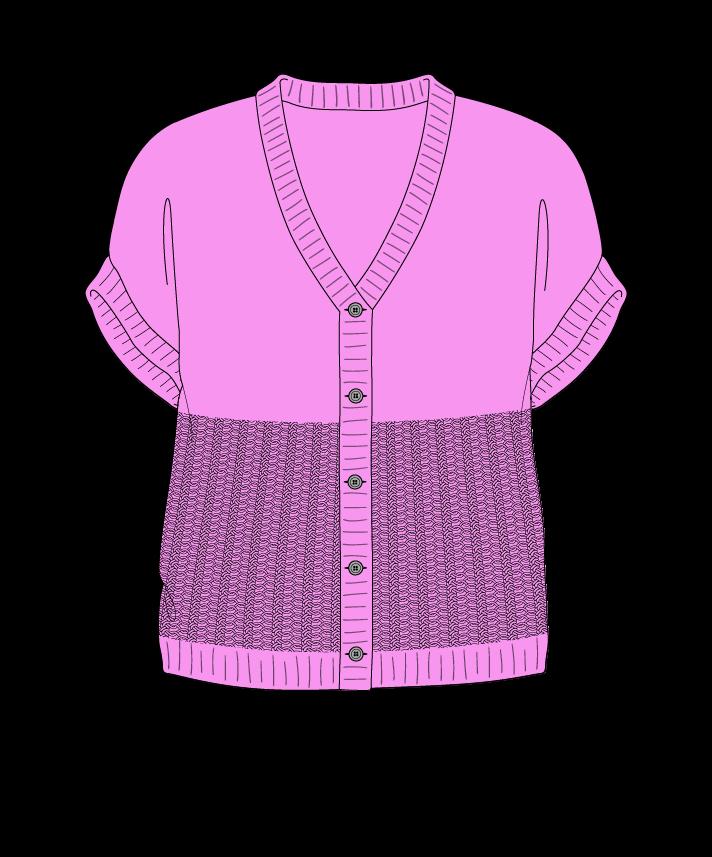 Regular fit Cropped body V-neck Sleeveless Purse stitch Plain Plain dropshoulder-cardigan dk 50