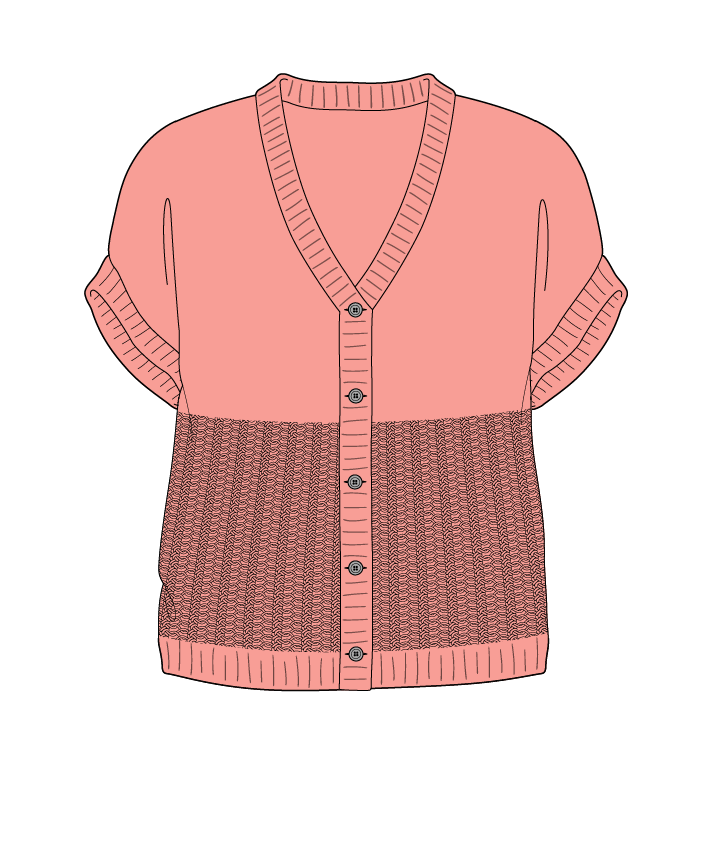 Regular fit Cropped body V-neck Sleeveless Purse stitch Plain Plain dropshoulder-cardigan fingering 38