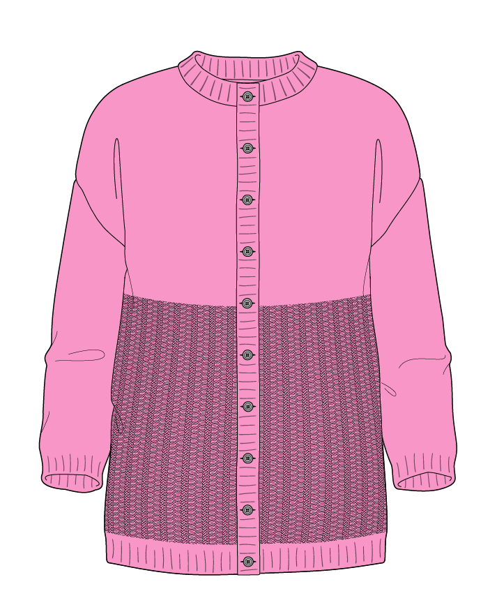 Regular fit Full length body Crew neck Three quarter sleeve Purse stitch Plain Plain dropshoulder-cardigan fingering 46