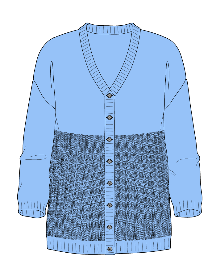 Regular fit Full length body V-neck Three quarter sleeve Purse stitch Plain Plain dropshoulder-cardigan fingering 30