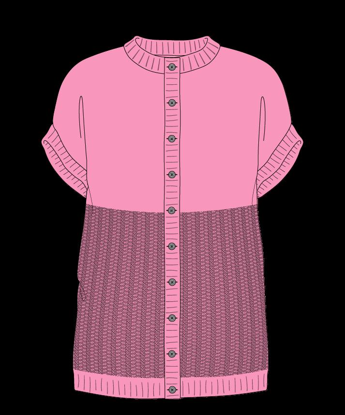Regular fit Full length body Crew neck Sleeveless Purse stitch Plain Plain dropshoulder-cardigan dk 30