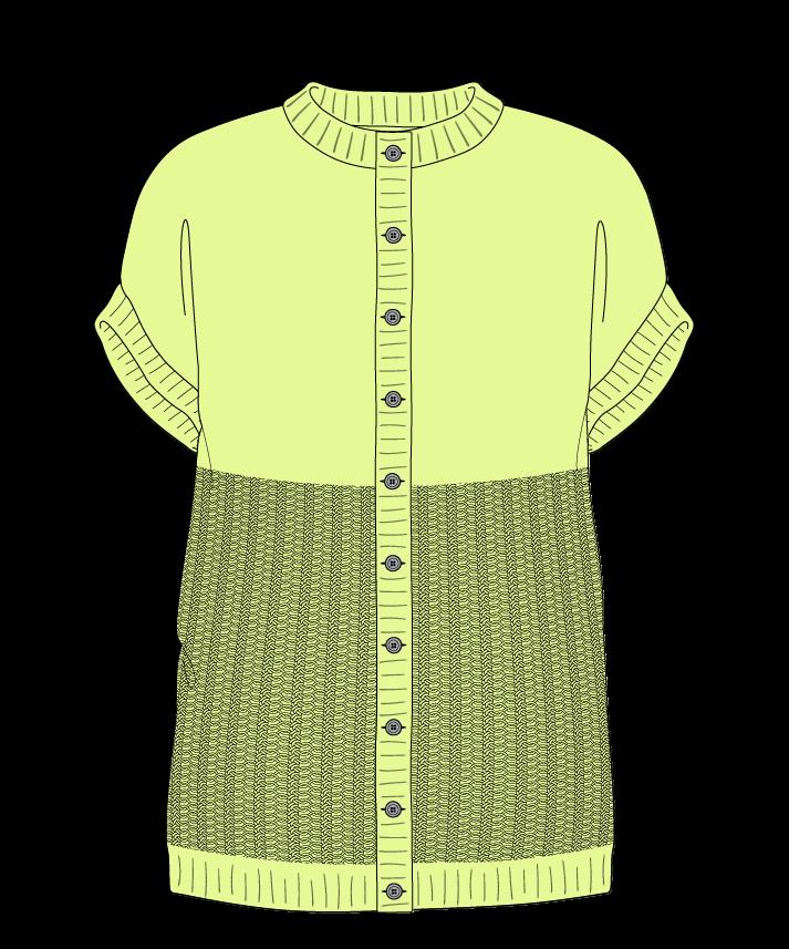 Regular fit Full length body Crew neck Sleeveless Purse stitch Plain Plain dropshoulder-cardigan fingering 42