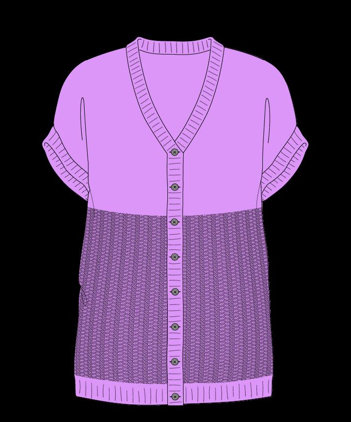 Regular fit Full length body V-neck Sleeveless Purse stitch Plain Plain dropshoulder-cardigan dk 30