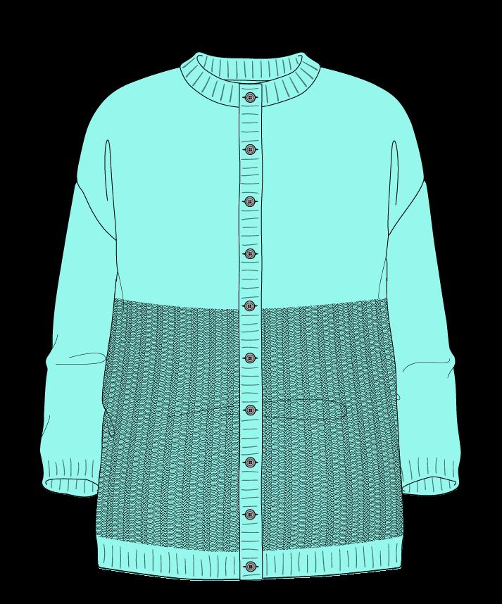Relaxed fit Full length body Crew neck Three quarter sleeve Purse stitch Plain Plain dropshoulder-cardigan dk 42