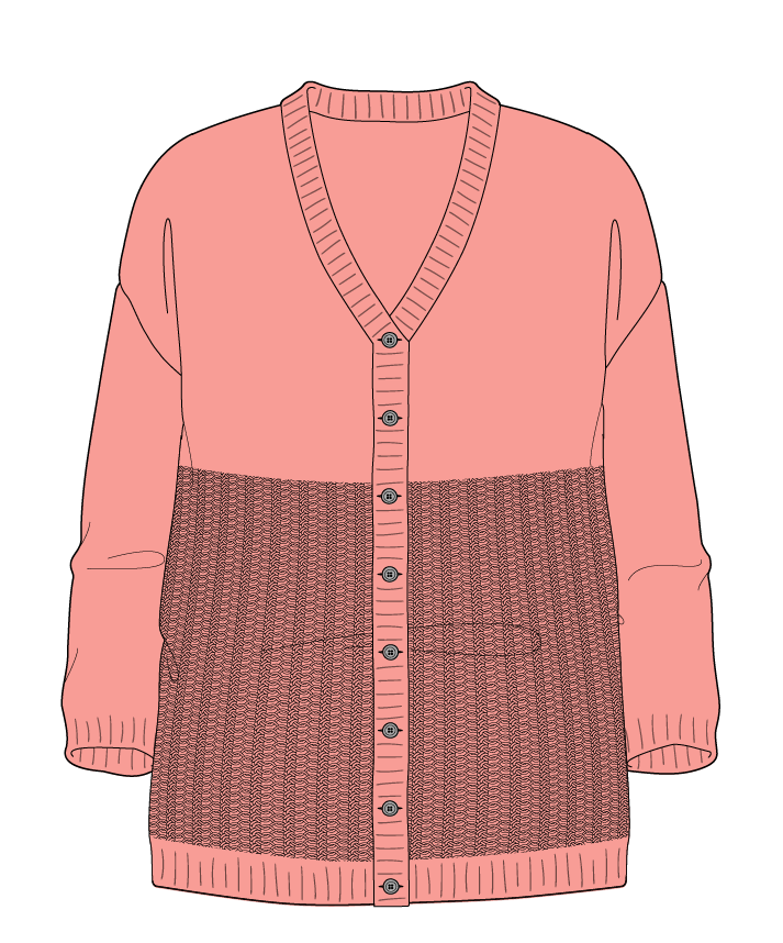 Relaxed fit Full length body V-neck Three quarter sleeve Purse stitch Plain Plain dropshoulder-cardigan fingering 46