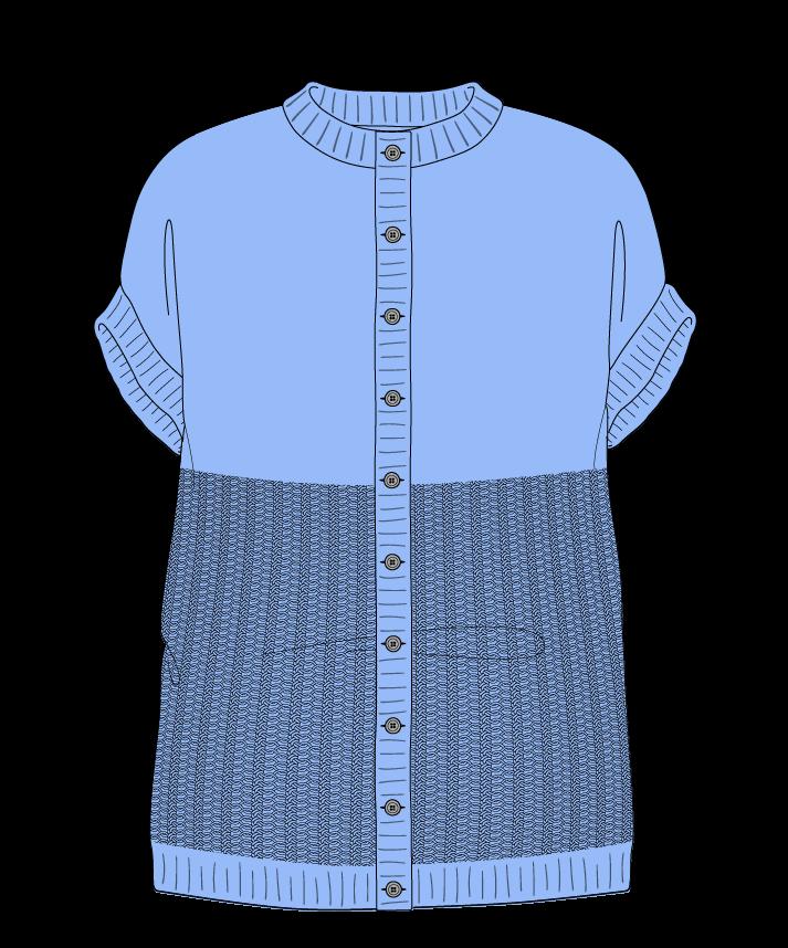 Relaxed fit Full length body Crew neck Sleeveless Purse stitch Plain Plain dropshoulder-cardigan fingering 50