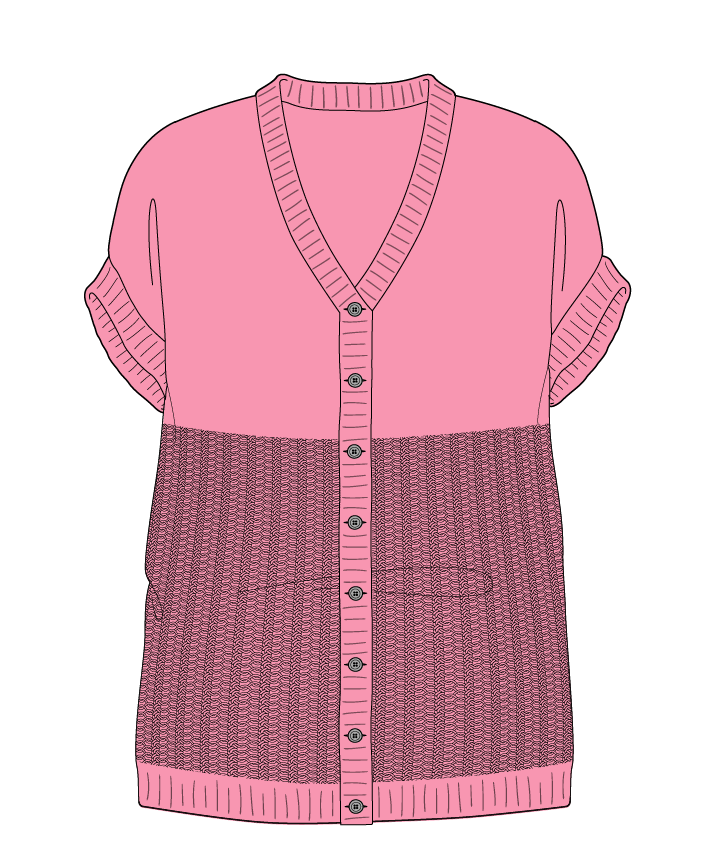 Relaxed fit Full length body V-neck Sleeveless Purse stitch Plain Plain dropshoulder-cardigan dk 46