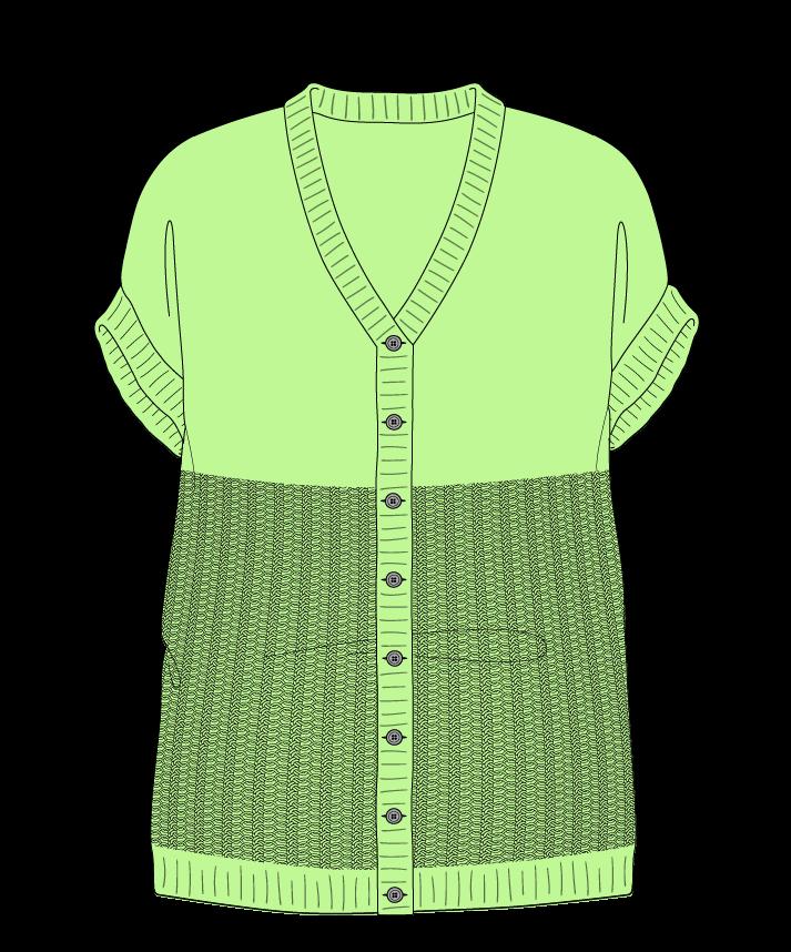 Relaxed fit Full length body V-neck Sleeveless Purse stitch Plain Plain dropshoulder-cardigan fingering 38