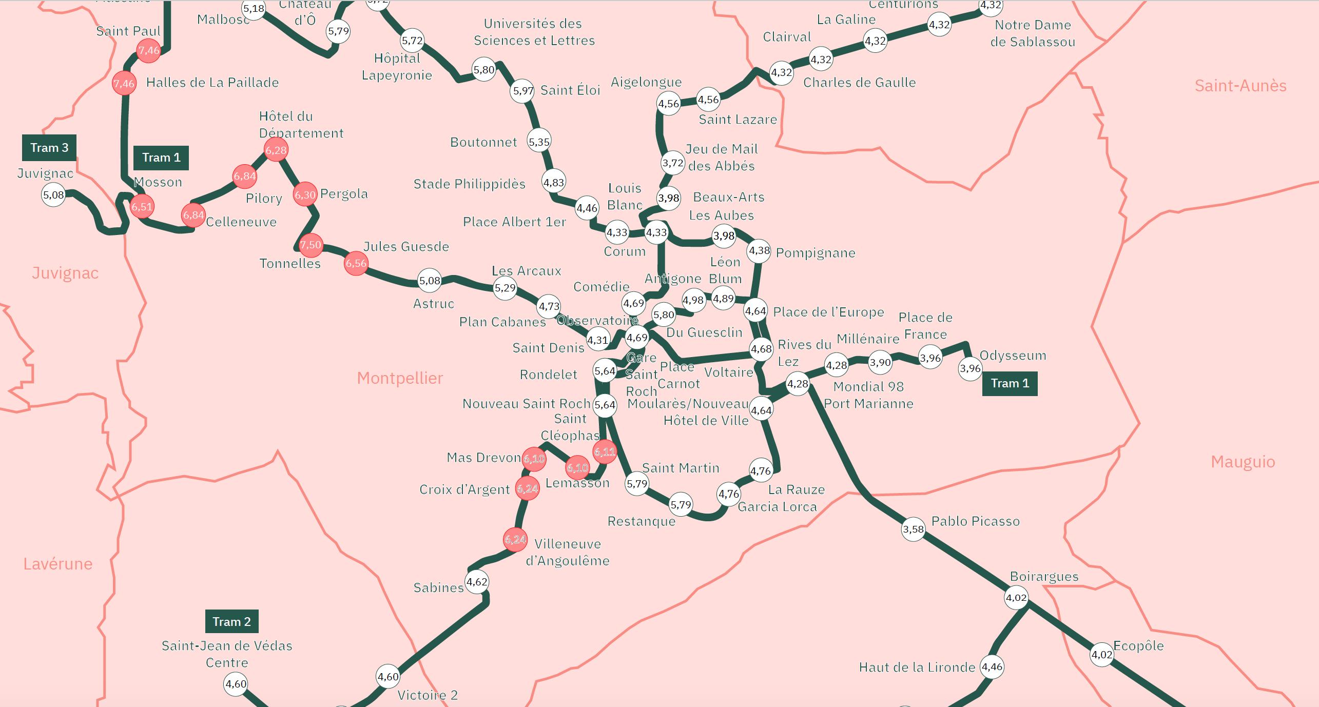 Carte de rendement locatif à Montpellier