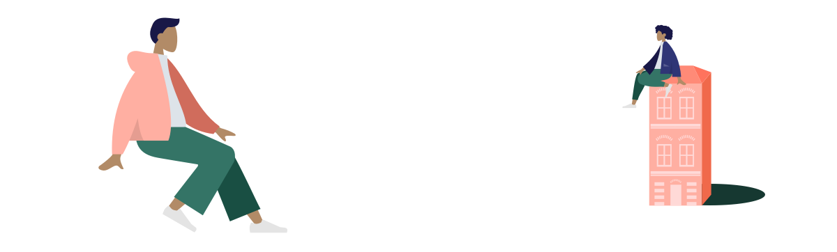 Illustration de deux personnage dont un sur un immeuble