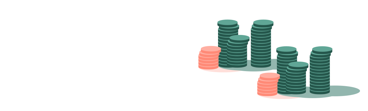 Pièces de monnaie empilées en colonnes
