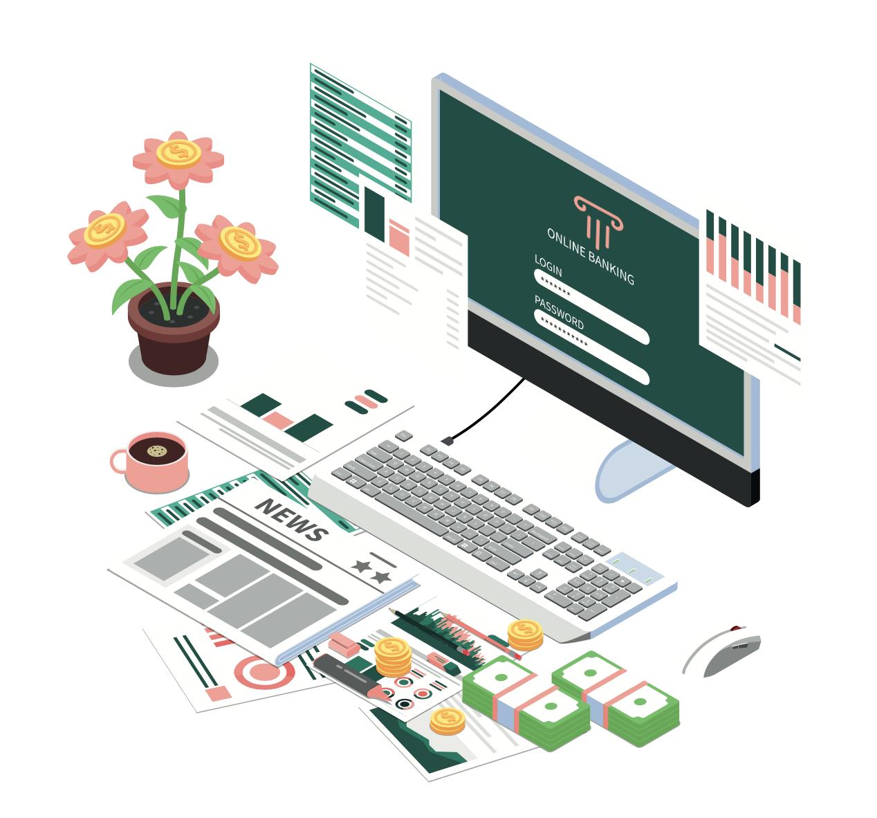 Illustration de l'online banking avec une interface Masteos