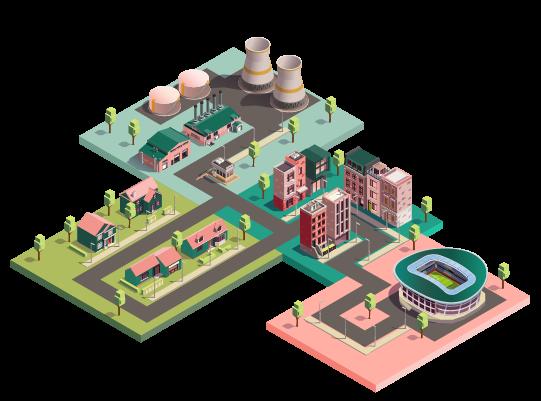 Illustration d'une ville par quartier