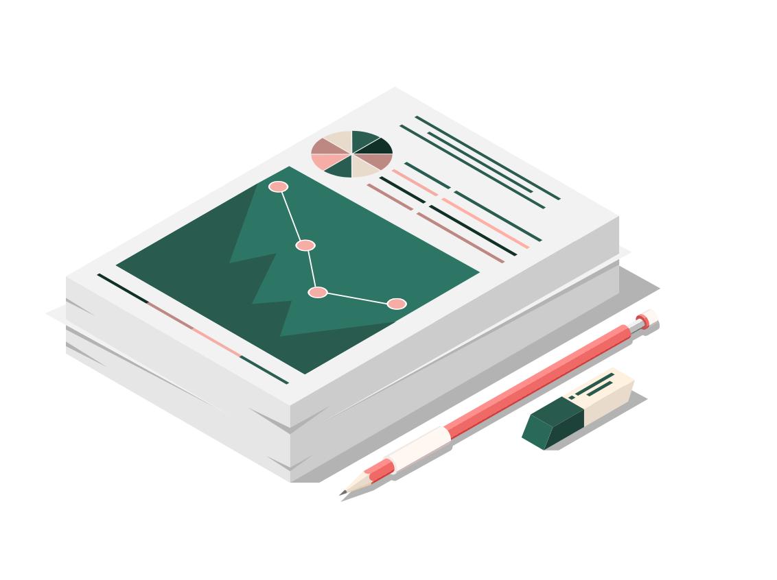 Illustration de graphiques imprimé avec crayon à papier et gomme