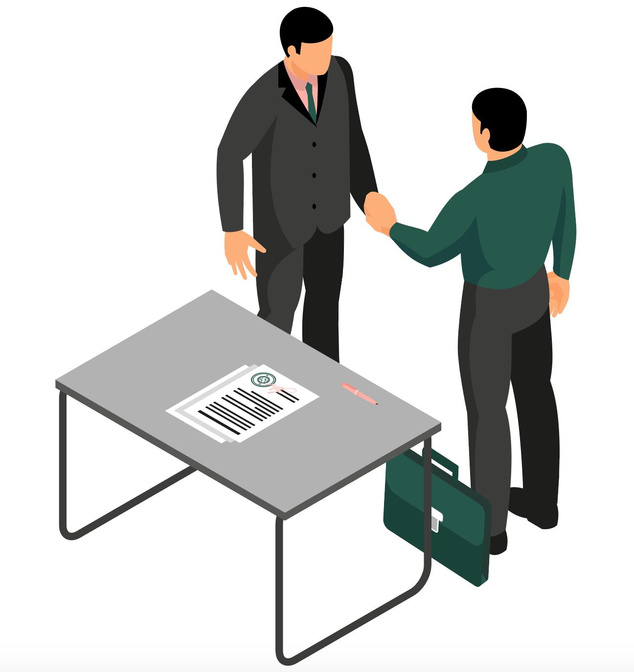 Illustration de deux personnages se serrant la main après avoir signé un contrat