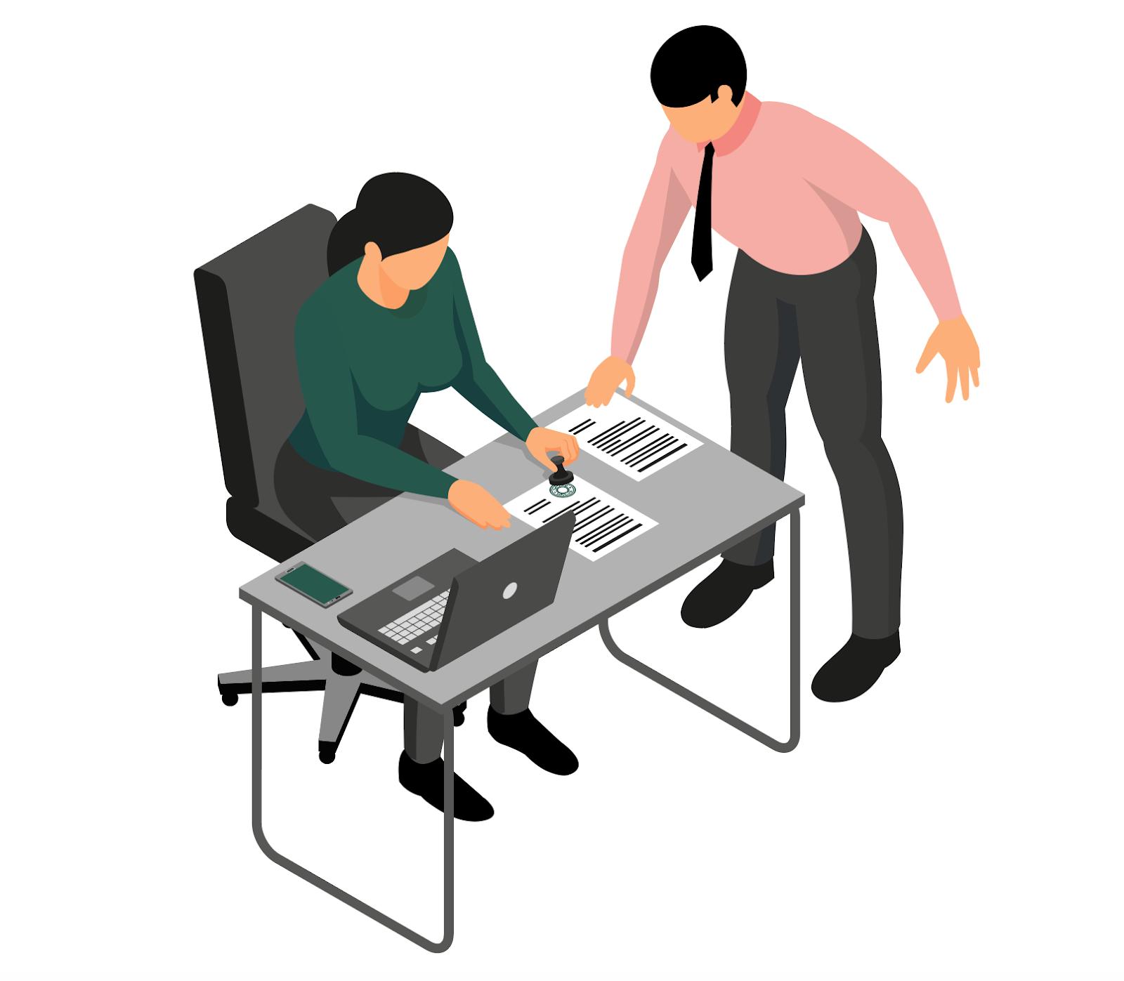Illustration d'une signature de contrat entre deux personnages