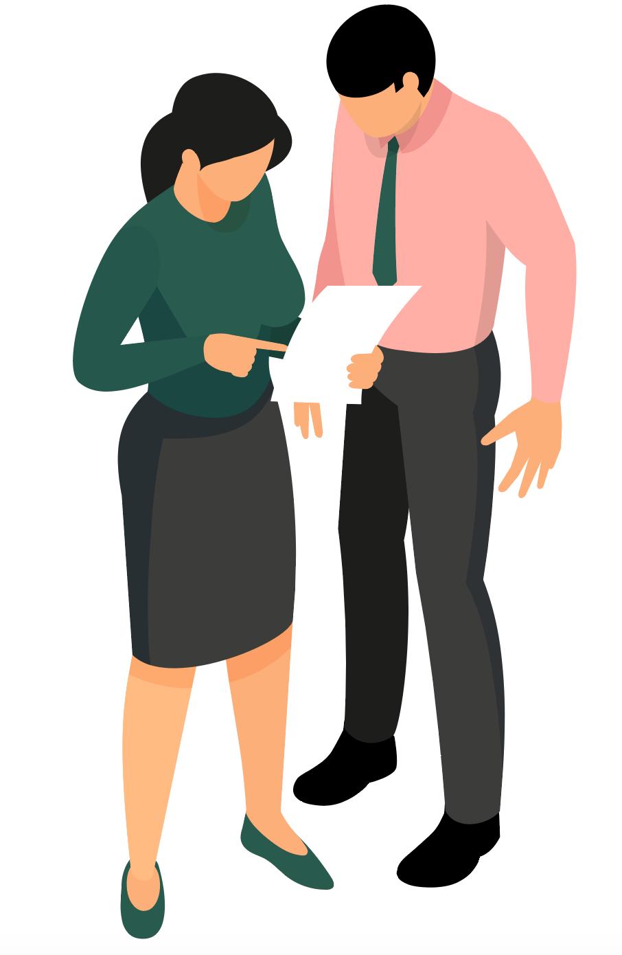 Illustration de deux personnages regardant un compromis de vente