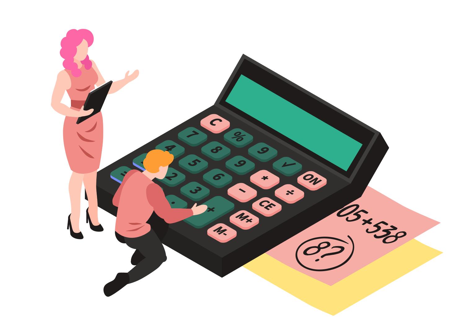 Illustration de deux personnages avec une calculatrice
