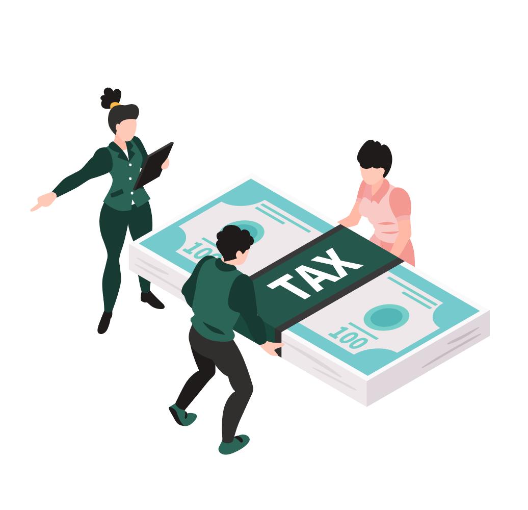 Illustration de trois personnages avec une liasse de billet représentant les impôts