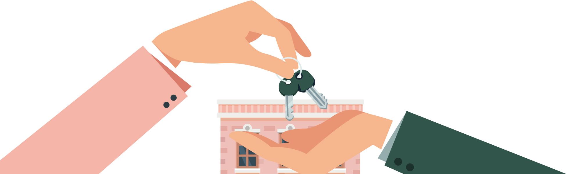Deux mains échangeant les clés du bien acheté pour être mis en location