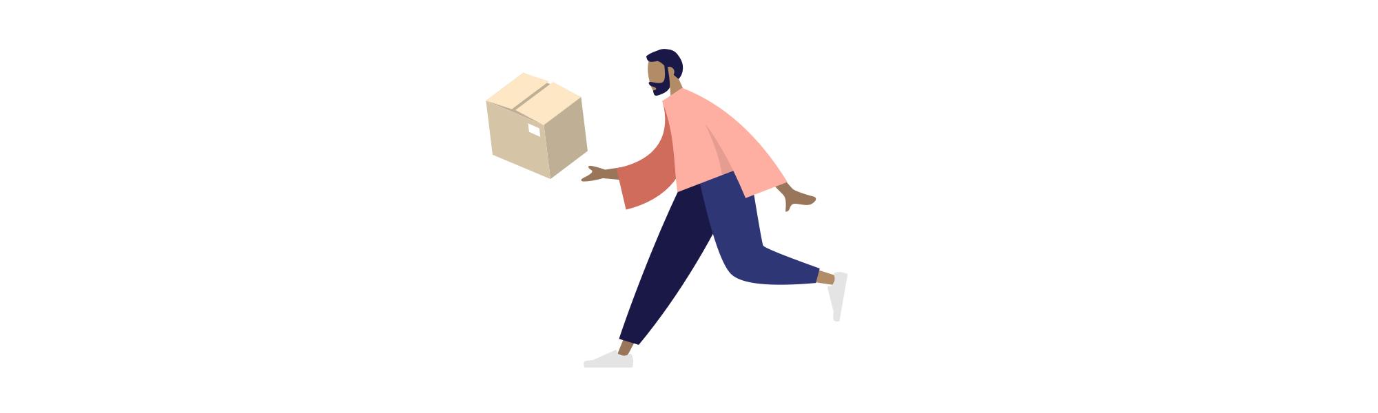 Livreur Masteos portant un carton de déménagement