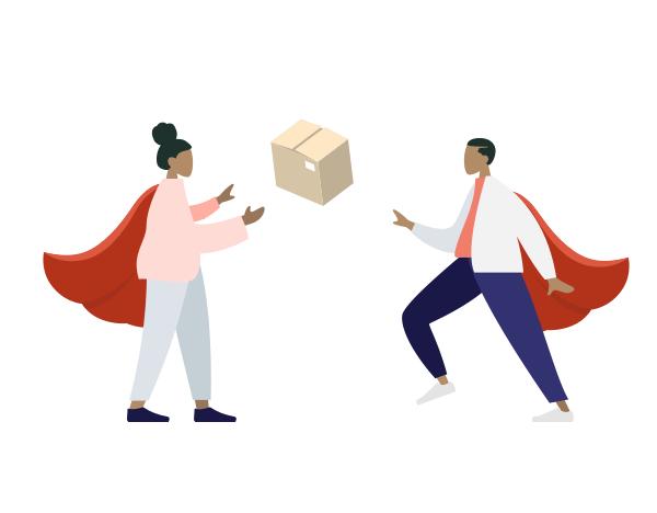 Deux livreurs Masteos portant une cape de super héros