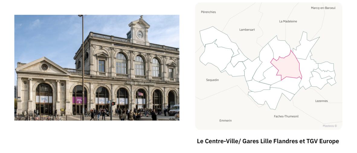 Gare Lille Flandres dans le centre ville ⎮ Carte des quartiers de Lille