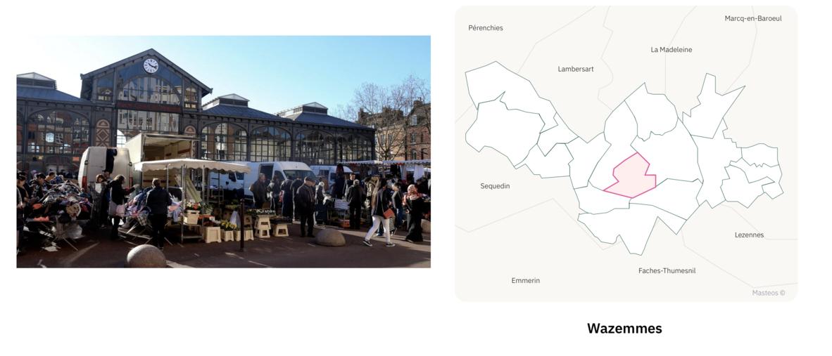 Marché couvert de Wazemmes ⎮ Carte des quartiers de Lille